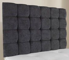 "4ft6 Double Pendle 36"" High Charcoal Chenille Deep Buttoned Headboard"