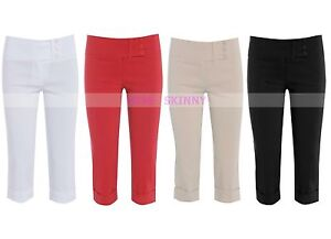 NEW LADIES PEDAL PUSHER 3/4 SHORTS WOMENS CAPRI PANTS BLACK WHITE RED SIZE 8-26