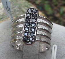0.64 cts Genuine Black Spinel Cluster Size 7 Ring in 925 Sterling Silver