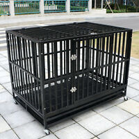 """48"""" Heavy Duty Metal Dog Crate Cage Square Tube Pet Kennel Playpen Wheels & Tray"""