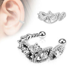 Beads Trimmed Clear CZ Rhodium Plated Brass Non Piercing Cartilage Ear Cuff Ring