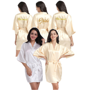 Champagne Yellow Satin Silk Personalized Wedding Robe Bridesmaid Dressing Gowns