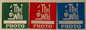 The Who LOT of 3  2008-09 Greatest hits tour satin Backstage Pass photo LOOK