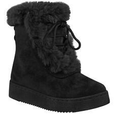 Womens Flat Winter Ankle Boots Warm Comfy Faux Fur Fleece Lining Walking Grip