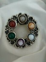 Vintage Silver Tone Scottish Celtic Multi Coloured Stone Signed Scarf Ring Clip