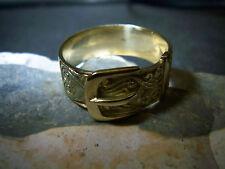 Jugendstil-Freundschafts–Gürtel-Ring-Schnallen-Ring-585-Gelb-Gold