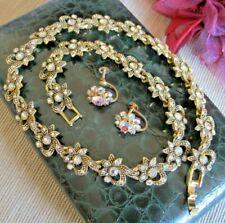 Vintage Estate Sparkling Jewellery Set 1940's AB Rhinestone Necklace & Earrings