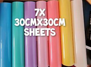 7x Sheets PERMANENT Pastel bundle mix vinyl cricut adhesive transfer 30x30cm