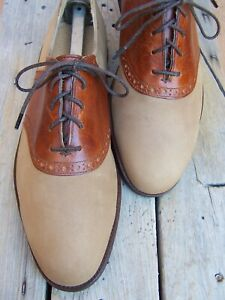 COLE HAAN Mens Casual Dress Shoes Leather Brown on Tan Saddle Oxfords Size 9.5D