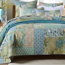 Blossom Handmade Patchwork Bedspread Quilt 3pc Set King Queen Bed Garden 3.7kg