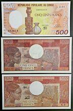 Congo Republic Lot of 3 Notes 1974 1980 & 1985 500 Francs