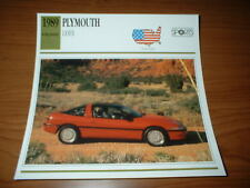 ★★1989 PLYMOUTH LASER RS INFO SPEC SHEET PHOTO PICTURE 89 90 91 92 93★★