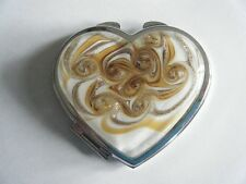 Murano Art Glass Mirror Compact Heart Shape Gold Brown White Silver Frame New