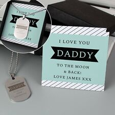 Personalised Mens Dog Tag Necklace & Card Birthday Dad Uncle Grandad Fathers Day