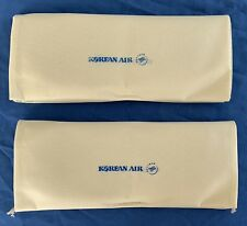 2 New Pairs Of Korean Air Business Class TAN Slippers and Cloth Bag