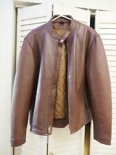 Mens Brown Leather Racer Jacket, Genuine Leather Coat Prototype, 2XL (Light Use)