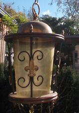 Antique French Brass Hall Lantern Chandelier Amber Glass Fleur - de - Lis