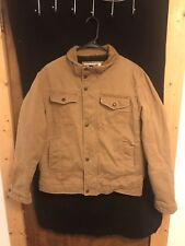 Mens LEVI'S Tan Canvas Sherpa Lined Button Up Work Coat Jacket SIZE M
