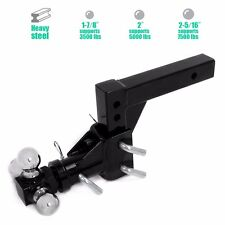 """3 BALL ADJUSTABLE DROP-TURN TRAILER TOW 2"""" HITCH MOUNT TOWING TRUCK SOLID HD"""