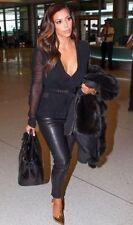Zara véritable slim 100% Cuir Pantalon   Noir Taille M Skinny Zip news