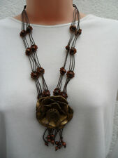 Design Six Gold Flower & Brown Floral Beaded Cord Button & Loop Necklace BNWT