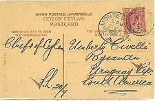 POSTAL HISTORY : CEYLON - POSTCARD to URUGUAY - 1905