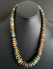 Sterling Silver Graduated Turquoise Spiny Oyster Bead Necklace. 25 inch