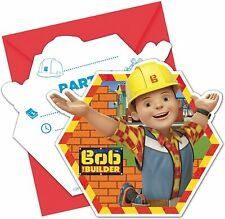 6 x Bob The Builder Invitations & Envelopes Boys Birthday Party Supplies Invites