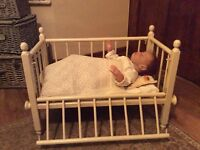 Vintage Doll Cot Bundle With Vintage Blankets And Gown, Modern Reborn Doll