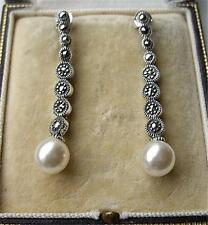 Deco Inspired Faux Pearl & Marcasite Silver Drop Earrings - Wedding?