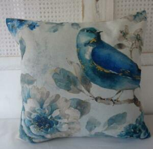 Bird With Flowers Watercolour Blue Mustard Teal Hamptons Pillow Cushion Cover 45