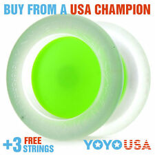 YoYoFactory Replay PRO Yo-Yo - Clear Body / Green Cap + FREE STRINGS