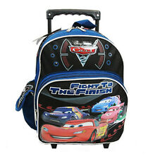 """Disney Pixar Cars 2 Boys 12"""" Blue School Rolling Backpack - Fight to the Finish"""
