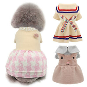 Girl Dogs Cat Puppy Winter Princess Dress Coat Chihuahua Clothes Warm Dog Skirt