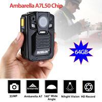 """Ambarella A7L50 2.0""""1296P Infrared Night Vision 64GB Body Security Police Camera"""