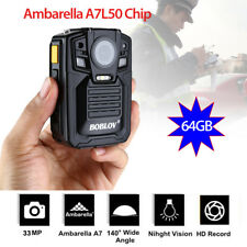 64GB Ambarella A7L50 1296P Police Body Worn Camera IR Light 8Hours 140° +Battery