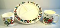 Vtg Set Lot Walt Disney Plastic Child Divided Plate Dish Cup Cups Mickey ABC's