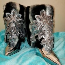 Custom Order Faux Chinchilla Fur Silver Sequin Bridal Wedding Ankle Booties