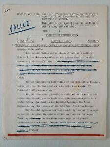 Play Script for Rudy Vallee &  His Connecticut yankees