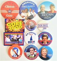 12 Presidential Campaign Buttons Biden Trump Clinton Bush McCain etc SET 72DD