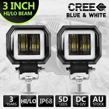 2X 3inch Cree LED Spot Work Light Square Driving Pods Offroad Motorcycle SUV 20W