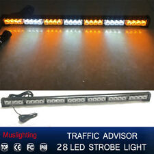 "31"" 28 LED Emergency Warning Traffic Advisor Strobe Light Bar Y Amber White 12V"