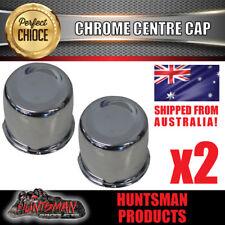 2X CHROME WHEEL RIM CAP 109MM CENTER TO SUIT TRAILER CAMPER 4X4 STEEL