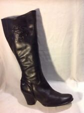 Caprice Black Knee High Leather Boots Size 3.5