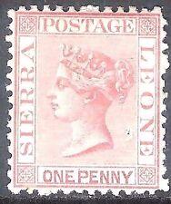Sierra Leone 1873 rose-red 1d crown CC upright perf 12.5 mint SG11