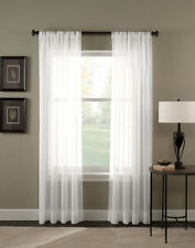 "Sheer Voile 2-Piece White Curtain Panel Solid Window Treatment 95"" Long New"