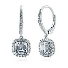 BERRICLE Sterling Silver Asscher CZ Halo Leverback Anniversary Wedding Earrings