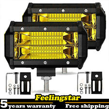 """2pc 5"""" Led Work Light Offroad Pod Lights Yellow Driving Fog Lamps Trucks ATV UTV"""