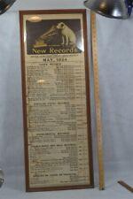 antique 1924 Record broadside frame Nipper phonograph advertise Victor original