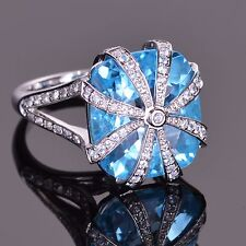 Blue Topaz Cascade Ring with White Sapphires in 14k White Gold